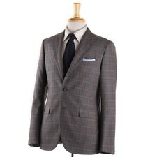 NWT $2385 BOGLIOLI Peak Lapel Three Piece Gray Check Wool Suit Slim 38 R (Eu 48)
