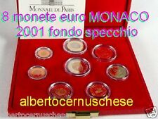 2001 Monaco 8 monete 3,88 EURO Fondo Specchio proof BE PP in box 8 pièces