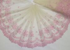 "7.5""*1yard Embroidery Tulle Lace Trim Sewing/Craft Pink~Cream"