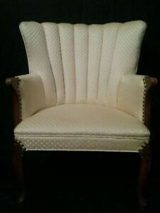 Vintage Queen Anne French Clam Shell Arm Chair Club Yellow Gold Tufted Back EVC
