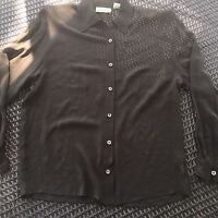 Dana Buchman Womens Button Down Shirt Blouse 100% Silk Sheer Career Brown Size 4