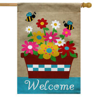 "Springtime Floral Burlap House Flag Welcome Flower Pot 28"" x 40"" Briarwood Lane"