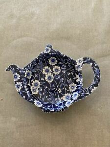 Burleigh Calico Blue Tea Bag Rest Floral Teapot Shape Staffordshire England