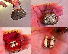 ANCIEN petit sac miniature + jumelle pour poupée de mode JUMEAU, BLEUETTE  etc