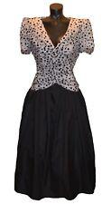 Pantagis Vintage 80s Black & White Polka Dot Prom Party Evening Dress size 14