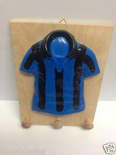 appendino legno maglia nero azzurro calcio ceramica fatto a mano parete squadra