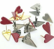 Scrapbooking Brads 20 Country Hearts Burgundy Pewter Valentine Embellishments