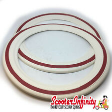 "Whitewall Tyre Inserts Rings 10"" (White / Red) (Vespa / Lambretta)"