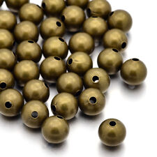 50 Antique Bronze Brass Metal Beads Smooth Seamless Loose Spacer Nickel Free 8mm
