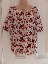 Pretty Next size 14 sheer cream top with dark red and peach flowers
