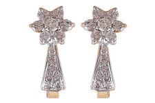 0.60 Cts Round Brilliant Cut Diamonds Huggie Earrings In Solid Hallmark 18K Gold