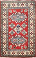 Geometric RED Super Kazak Oriental Area Rug For Kitchen Wool Hand-Knotted 2x3 ft