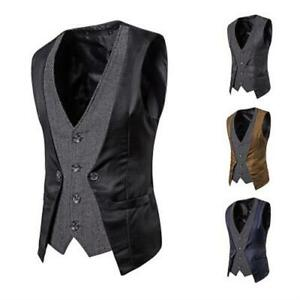 Men's Stitching Fake Two-piece Single-breasted Vests Tank Casual Slim Fit Jacket