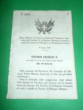 Regno d'Italia Regio Decreto Frazione Viannino passa a Varano de' Melegari 1870