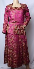 Vintage 15.2ms Soie Brillant Satin Asiatique Oriental Chinois brocart Robe
