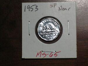1953  Canada 5 cent  SF Near MS 65