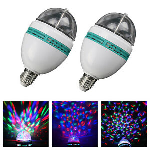 LED Rotating Disco Light Bulb RGB Projector Multi Coloured Bayonet Party Lamp