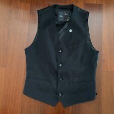 G Star Raw Vest Grey Pinstripe Black Sz L Buckleback Suit Mens Formal Casual EUC
