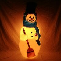 "General Foam Frosty The Snowman Blow Mold 42"" Carrot Nose Blue Scarf Vintage"
