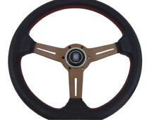 "High Quality Nardi Style Leather 13.7"" Titanium Spoke Racing Steering Wheel"