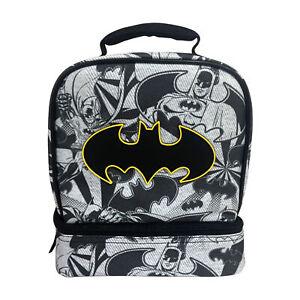 Kids Batman Dual Compartment Drop Bottom Lunch Bag For Boys, Brand New!!