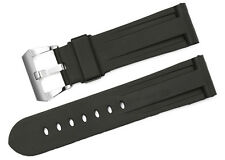 24mm Black Genuine Rubber Leather Watch Band Steel Buckle Strap Belt For Panerai