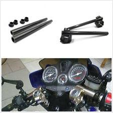Glossy Black Real Carbon Fiber Clip-On Motorbike Handlebar Fork Tube+35mm Clamps