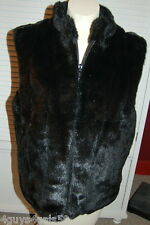 Super PLUSH FAUX FUR Womens Lined WINTER Vest LARGE GIACCA GALLERY Black
