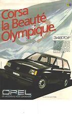 """PUBLICITE ADVERTISING  1982  OPEL CORSA """" la beauté olympique"""""""