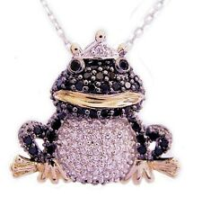 New .925 Sterling Silver CZ Frog Pendant Necklace