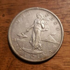 PHILIPPINES 1905-S 1 Peso Silver Crown XF Coin