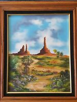 ORIGINAL OIL PAINTING ON CANVAS LANDSCAPE WITH WOODEN FRAME, SIGNED BY FENWICK
