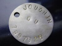WW2 relic dogtag RAC RTR JOUGLIN Wounded 148th Regiment August 1945