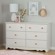 Lily Rose 6 Drawer White Wash Dresser Bedroom Furniture Indoor Home Decorative
