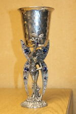 """RARE -Fellowship Foundry Pewter Jeweled Winged Fairy Goblet/Chalice  9 3/4"""" Tall"""