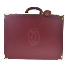 Auth Must De Cartier 2C Logos Briefcase Hand Bag Leather Bordeaux Italy 33BE639