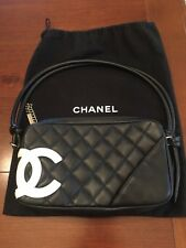 Chanel Black Leather Quilted Handbag With White Logo