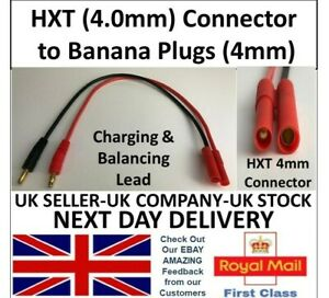 HXT Connectors (4mm size) to Banana Plugs 4mm Cable lead Lipo Battery RC Charger