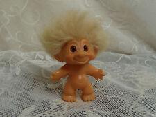 vintage troll 1960's unmarked violet  spiral eyes very soft fluffy hair orig