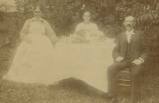Ghostly Picnic, Three Adults In Garden. Silver Print, Toned.