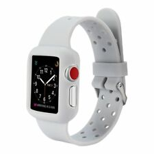 AMZER 42mm Soft Slim Silicone TPU Bumper Band Strap Case for Apple Watch - Gray