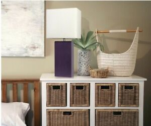 Modern Table Lamp White Fabric Shade Purple Leather Base Home Accessories Sale
