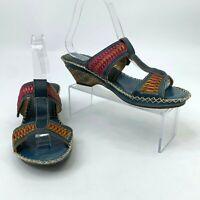 L 'Artiste Ganzo Women Size 39 Spring Step Leather Slip On Open Toe Wedge Heels