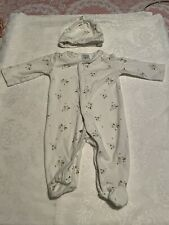 Mamas and Papas Baby Girl Babygrow Sleepsuit White With Matching Hat 0-3 Months