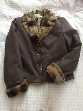 Luxurious KALIKO 'Softwear' Fur Lined Brown Jacket-size 12. Worn Once. VGC