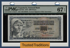 Tt Pk 92c 1978 Yugoslavia National Bank 1000 Dinara Pmg 67 Epq Superb Gem Unc!