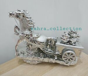 Silver Horse And Carriage Bling Ornament Shelf Sitter Glitter Home Decor