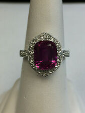 Ladies oval cut Pink Sapphire and Diamond 10K white Gold Ring