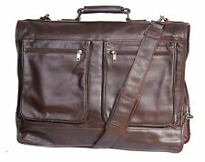 Luxury Real Leather Suit Carrier Brown Business Travel Weekend Garment Dress Bag