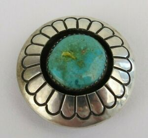 Native American Jackson blue turquoise sun sterling silver round bolo tie vtg